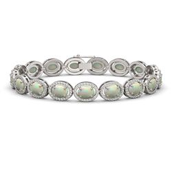 14.24 CTW Opal & Diamond Halo Bracelet 10K White Gold - REF-298M2H - 40616