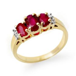 1.18 CTW Ruby & Diamond Ring 14K Yellow Gold - REF-34F5N - 13208