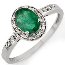 0.85 CTW Emerald & Diamond Ring 10K White Gold - REF-15K5W - 10414