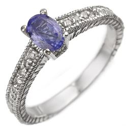 0.66 CTW Tanzanite & Diamond Ring 18K White Gold - REF-45K5W - 10898