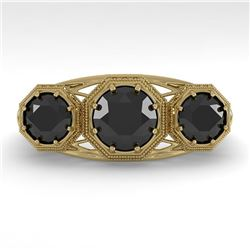 2 CTW Past Present Future Black Diamond Ring 18K Yellow Gold - REF-90F4N - 36076