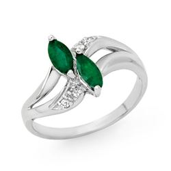 0.45 CTW Emerald & Diamond Ring 14K White Gold - REF-23W6F - 12779