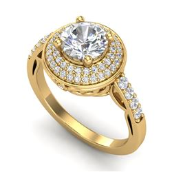 1.7 CTW VS/SI Diamond Solitaire Art Deco Ring 18K Yellow Gold - REF-436T4M - 37255