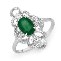 0.71 CTW Emerald & Diamond Ring 18K White Gold - REF-30W8F - 12481