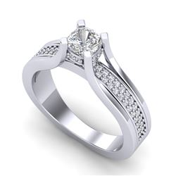 1.01 CTW Cushion VS/SI Diamond Solitaire Micro Pave Ring 18K White Gold - REF-200M2H - 37160
