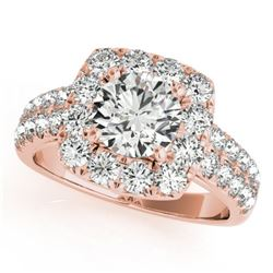 2.25 CTW Certified VS/SI Diamond Solitaire Halo Ring 18K Rose Gold - REF-458A5X - 26444