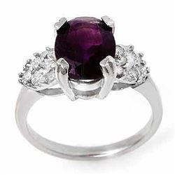 2.65 CTW Amethyst & Diamond Ring 14K White Gold - REF-39F3N - 13595