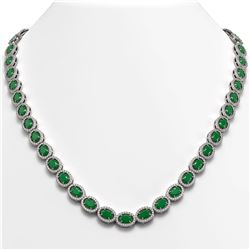 34.11 CTW Emerald & Diamond Halo Necklace 10K White Gold - REF-562Y9K - 40400