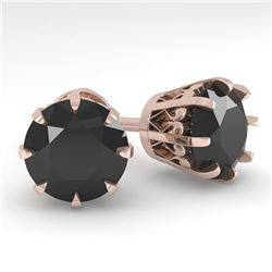 4.0 CTW Black Diamond Stud Solitaire Earrings 18K Rose Gold - REF-127K3W - 35708