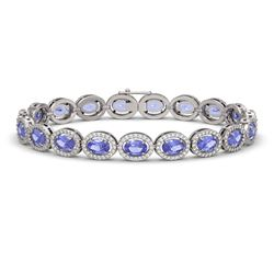 14.25 CTW Tanzanite & Diamond Halo Bracelet 10K White Gold - REF-273Y5K - 40460