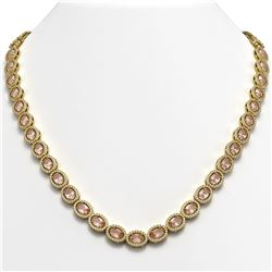 31.96 CTW Morganite & Diamond Halo Necklace 10K Yellow Gold - REF-604H2A - 40414