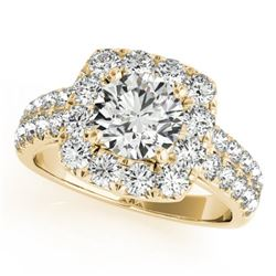 2.5 CTW Certified VS/SI Diamond Solitaire Halo Ring 18K Yellow Gold - REF-581F3N - 26448