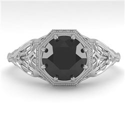 1.50 CTW Black Certified Diamond Engagement Ring Deco Size 7 18K White Gold - REF-67H3A - 36054