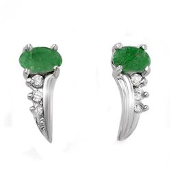 0.60 CTW Emerald & Diamond Earrings 18K White Gold - REF-23K3W - 12723