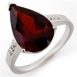 5.10 CTW Garnet & Diamond Ring 10K White Gold - REF-20H8A - 11411