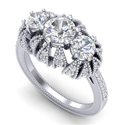 2.26 CTW VS/SI Diamond Art Deco Micro Pave 3 Stone Ring Band 18K White Gold - REF-345N5Y - 37001