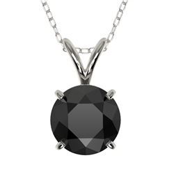 1.25 CTW Fancy Black VS Diamond Solitaire Necklace 10K White Gold - REF-29N5Y - 33204