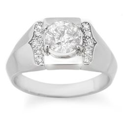 1.65 CTW Certified VS/SI Diamond Men's Ring 10K White Gold - REF-593K3W - 14488
