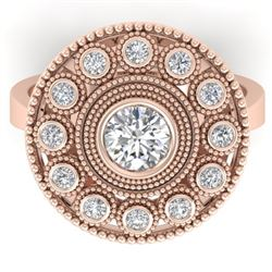 0.91 CTW Certified VS/SI Diamond Art Deco Ring 14K Rose Gold - REF-160F2N - 30463