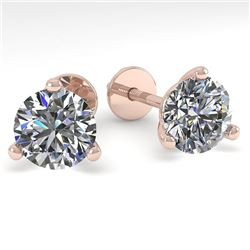 1.53 CTW Certified VS/SI Diamond Stud Earrings Martini 14K Rose Gold - REF-240M3H - 30570