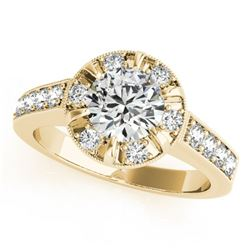 2 CTW Certified VS/SI Diamond Solitaire Halo Ring 18K Yellow Gold - REF-471M5H - 27041