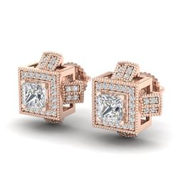 1.73 CTW Princess VS/SI Diamond Micro Pave Stud Earrings 18K Rose Gold - REF-254T5M - 37185