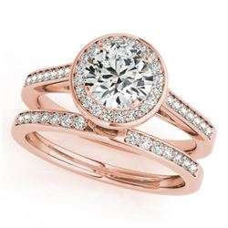 1.45 CTW Certified VS/SI Diamond 2Pc Wedding Set Solitaire Halo 14K Rose Gold - REF-390H4A - 30808