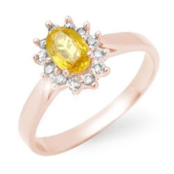 0.83 CTW Yellow Sapphire & Diamond Ring 18K Rose Gold - REF-39F6N - 14385
