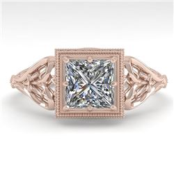 1.0 CTW VS/SI Princess Diamond Solitaire Engagement Ring Deco 18K Rose Gold - REF-344H4A - 36041