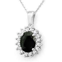3.69 CTW Blue Sapphire & Diamond Pendant 14K White Gold - REF-46A9X - 13634