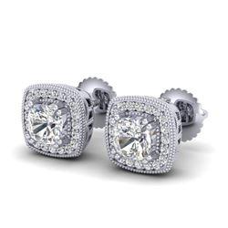1.25 CTW Cushion Cut VS/SI Diamond Art Deco Stud Earrings 18K White Gold - REF-218M2H - 37034