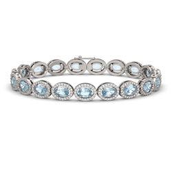 11.02 CTW Aquamarine & Diamond Halo Bracelet 10K White Gold - REF-258H8A - 40475