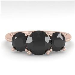 2 CTW Black Diamond Past Present Future Designer Ring 14K Rose Gold - REF-71M8H - 38493