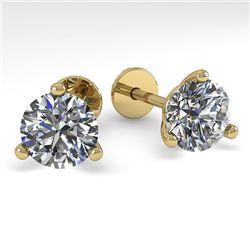 2.0 CTW Certified VS/SI Diamond Stud Earrings 18K Yellow Gold - REF-570A2X - 32215