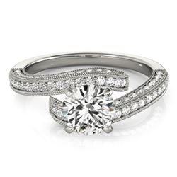 1.75 CTW Certified VS/SI Diamond Bypass Solitaire Ring 18K White Gold - REF-402K9W - 27774