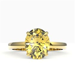 2.50 CTW Citrine Designer Inspired Solitaire Ring 18K Yellow Gold - REF-36N2Y - 22059