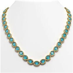55.41 CTW Swiss Topaz & Diamond Halo Necklace 10K Yellow Gold - REF-681A8X - 40588
