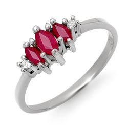0.54 CTW Ruby & Diamond Ring 14K White Gold - REF-17K6W - 12305