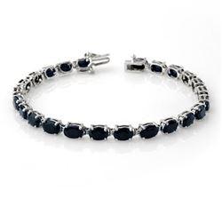 17.80 CTW Blue Sapphire Bracelet 10K White Gold - REF-71F8N - 14041