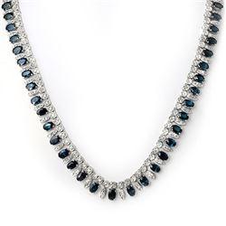 26 CTW Blue Sapphire & Diamond Necklace 18K White Gold - REF-857T8M - 11557