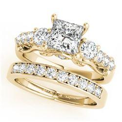 1.85 CTW Certified VS/SI Diamond 3 Stone Princess Cut 2Pc Set 14K Yellow Gold - REF-305M5H - 32026