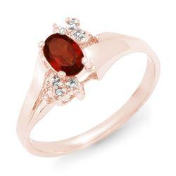 0.52 CTW Garnet & Diamond Ring 10K Rose Gold - REF-14X8T - 12368