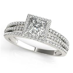 1.2 CTW Certified VS/SI Princess Diamond Solitaire Halo Ring 18K White Gold - REF-241Y5K - 27180