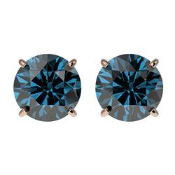 2.05 CTW Certified Intense Blue SI Diamond Solitaire Stud Earrings 10K Rose Gold - REF-205K9W - 3665