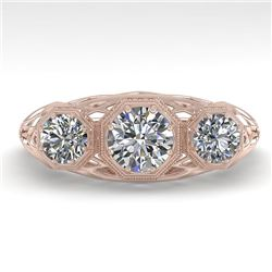 1.00 CTW Past Present Future VS/SI Diamond Ring 18K Rose Gold - REF-162A9X - 36056