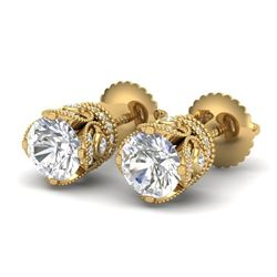 1.85 CTW VS/SI Diamond Solitaire Art Deco Stud Earrings 18K Yellow Gold - REF-261T8M - 36859