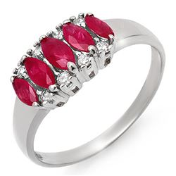 0.77 CTW Ruby & Diamond Ring 14K White Gold - REF-28Y2K - 12335