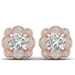 1.5 CTW Certified VS/SI Diamond Art Deco Stud Earrings 14K Rose Gold - REF-196A2X - 30514