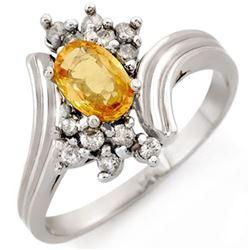 1.0 CTW Yellow Sapphire & Diamond Ring 18K White Gold - REF-47N3Y - 10233