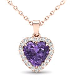 1 CTW Amethyst & Micro VS/SI Diamond Heart Necklace Heart Halo 14K Rose Gold - REF-28W4F - 21332